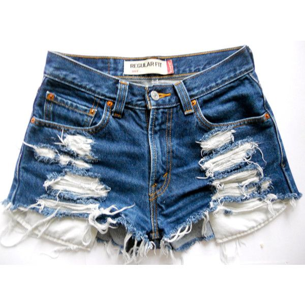 eaf5a914c9 Custom Vintage Levi High-waisted Dark Blue Denim Shorts ($40) ❤ liked on  Polyvore