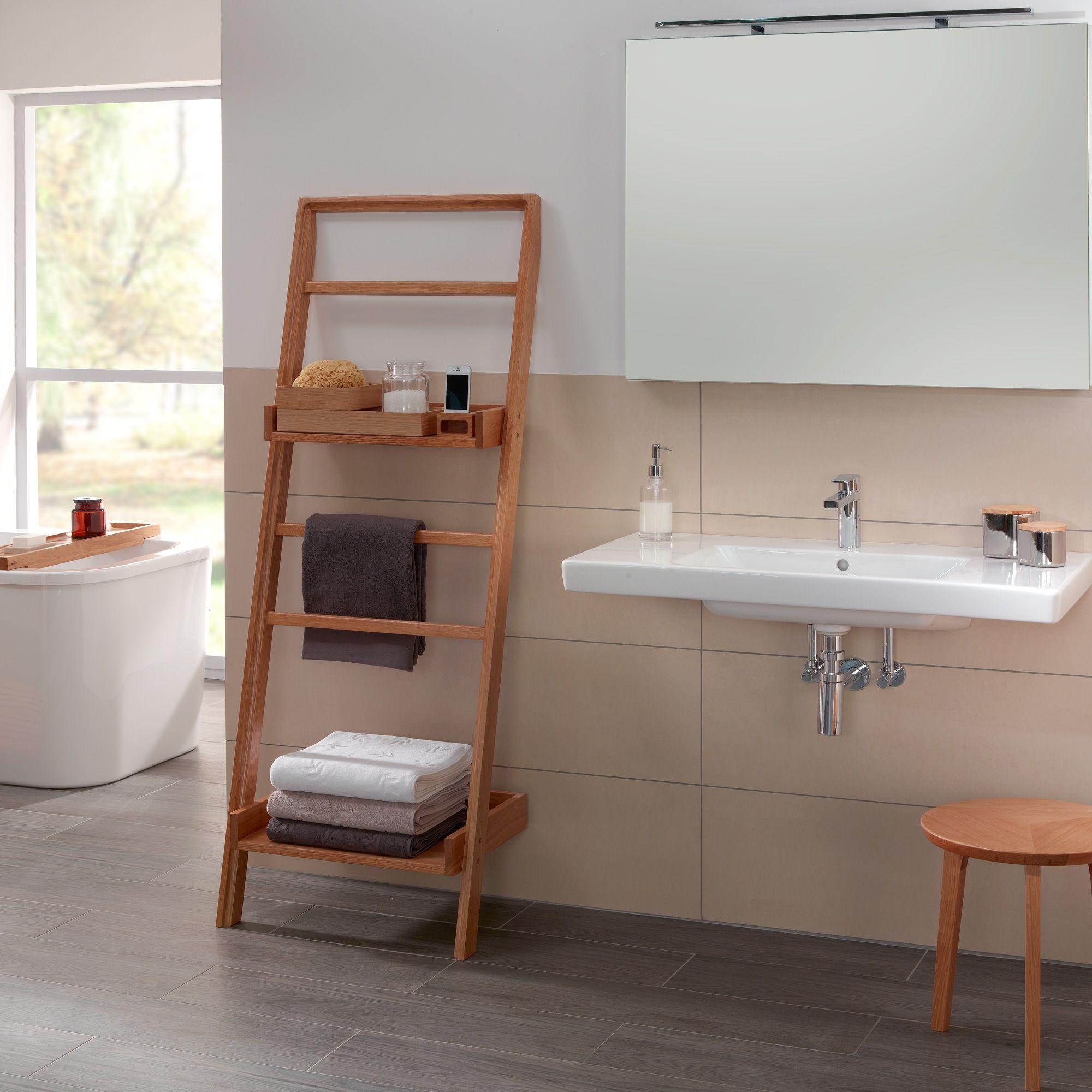Geef de badkamer een natuurlijke uitstraling met deze mooie ladder ...