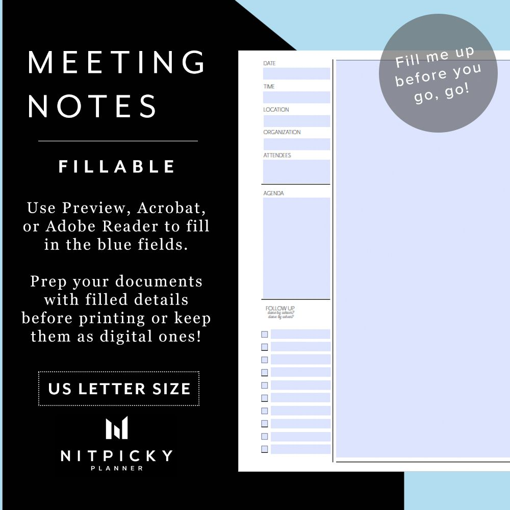 Letter Quick Meeting Notes Minimalist Printable Template For