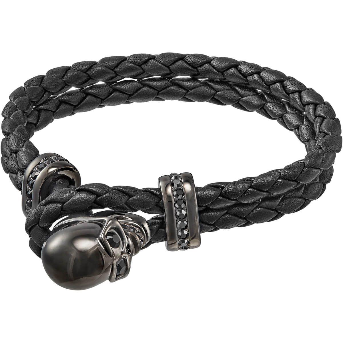 Fran bracelet leather black braided leather bracelet