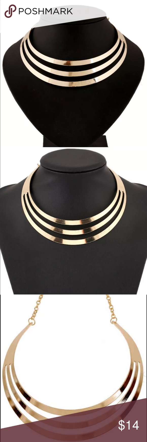 Gold Tone Chocker Statement Necklace Gold Tone Chocker Statement Necklace Jewelry Necklaces
