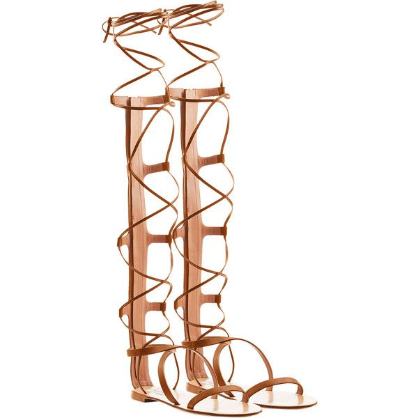 Valentino Aphrodite Leather Gladiator Sandals ($1,345) ❤ liked on Polyvore featuring shoes, sandals, camel, leather sandals, laced sandals, leather gladiator sandals, lace up shoes and greek sandals