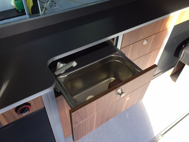 Small Sink Tucked Away In A Nomad Sport Kitchen Draw Camper