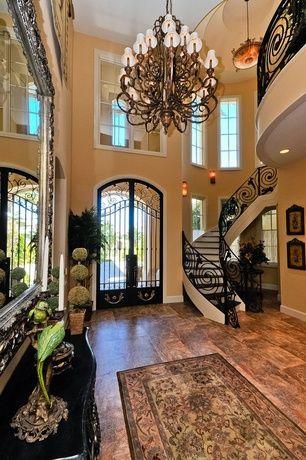Mediterranean Entryway With Wood Stair Treads Hardwood