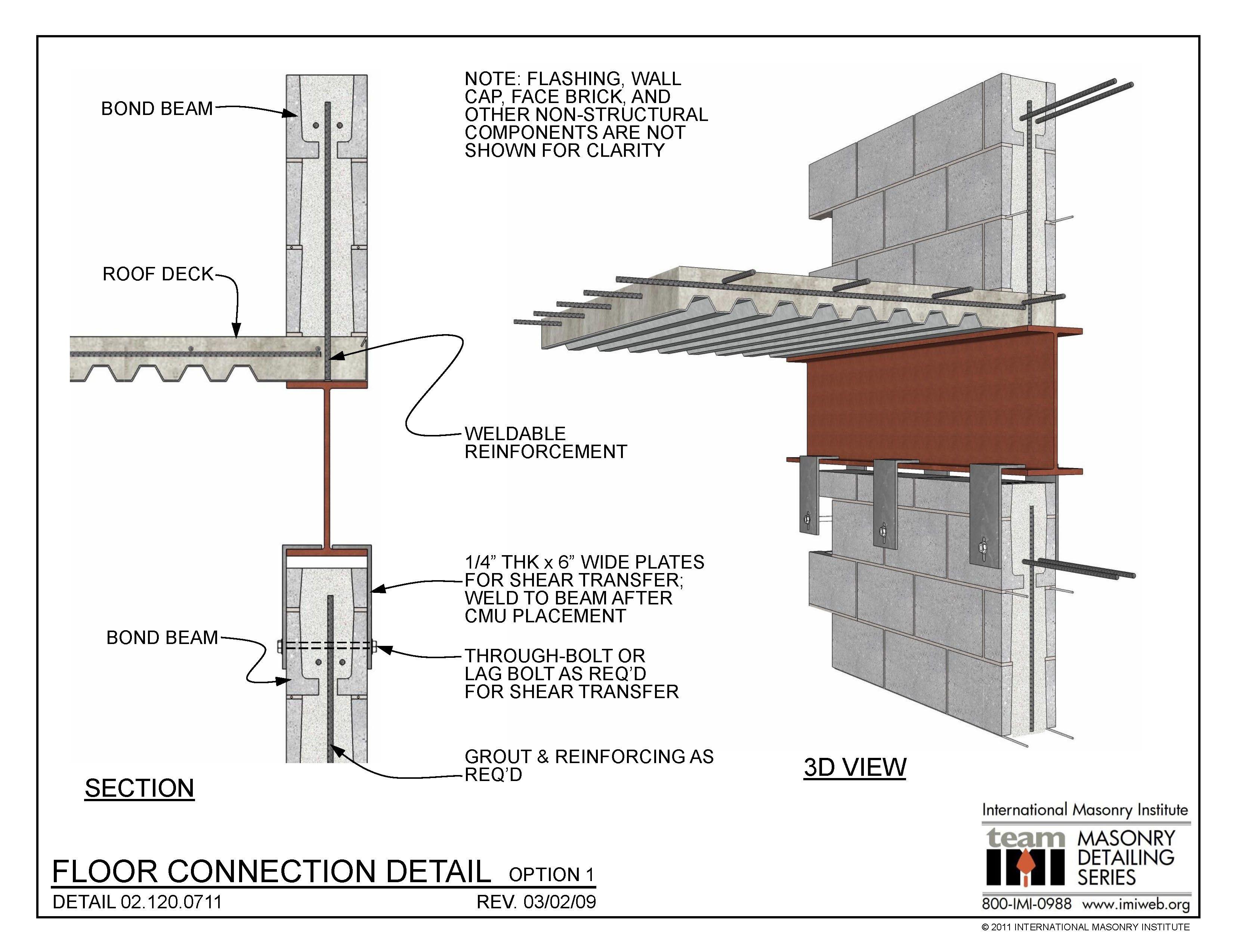 02 120 0711 Floor Connection Detail Option 1 International Masonry Institute Construction Details Architecture Metal Building Designs Masonry