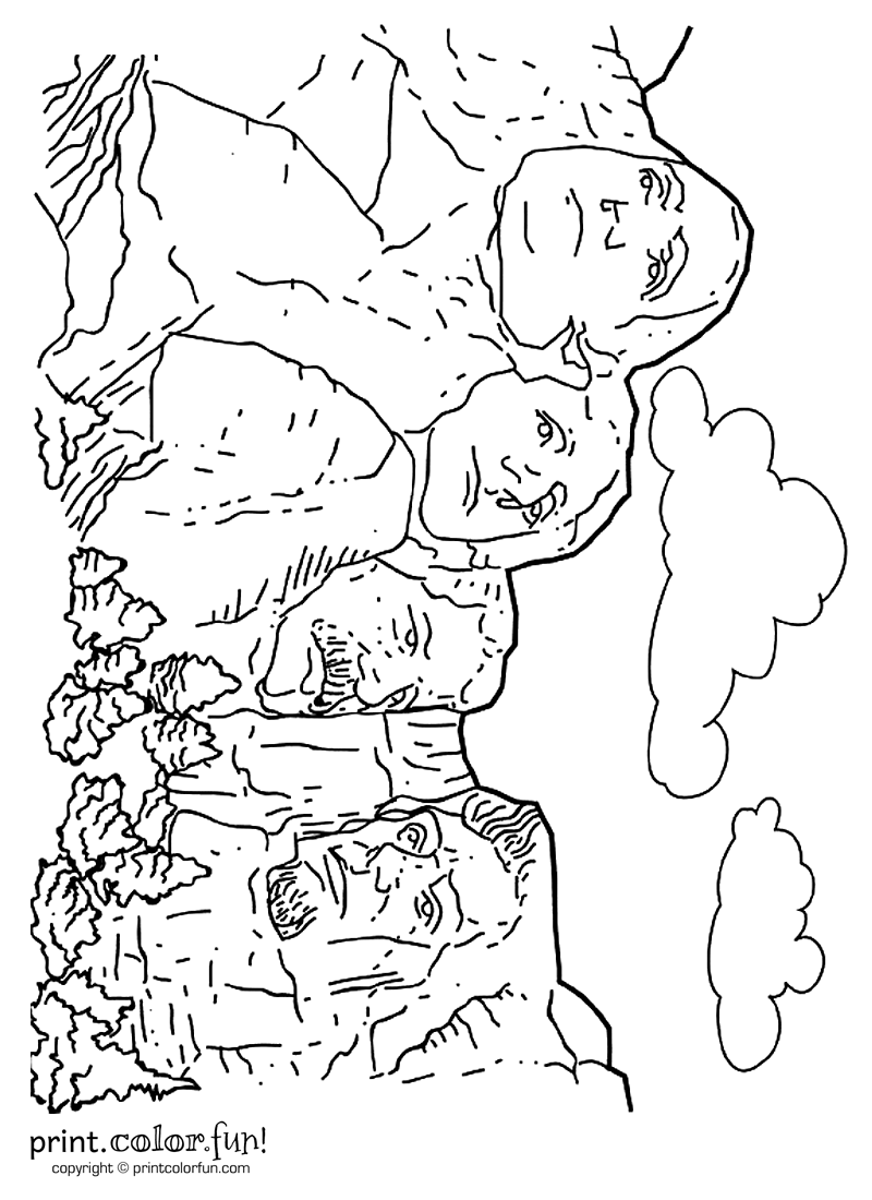 Mount Rushmore Coloring Pages Kindergarten Coloring Pages Cool Coloring Pages