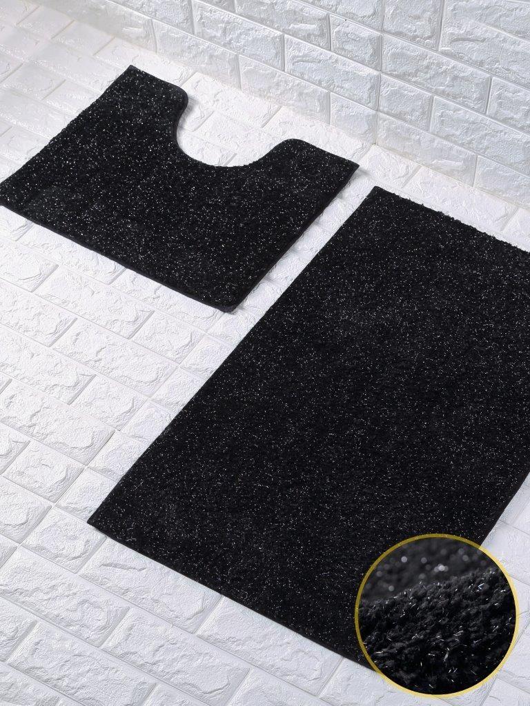 Shiny Sparkling Bath Mat Set 2 Piece Non Slip Pedestal Mat Toilet