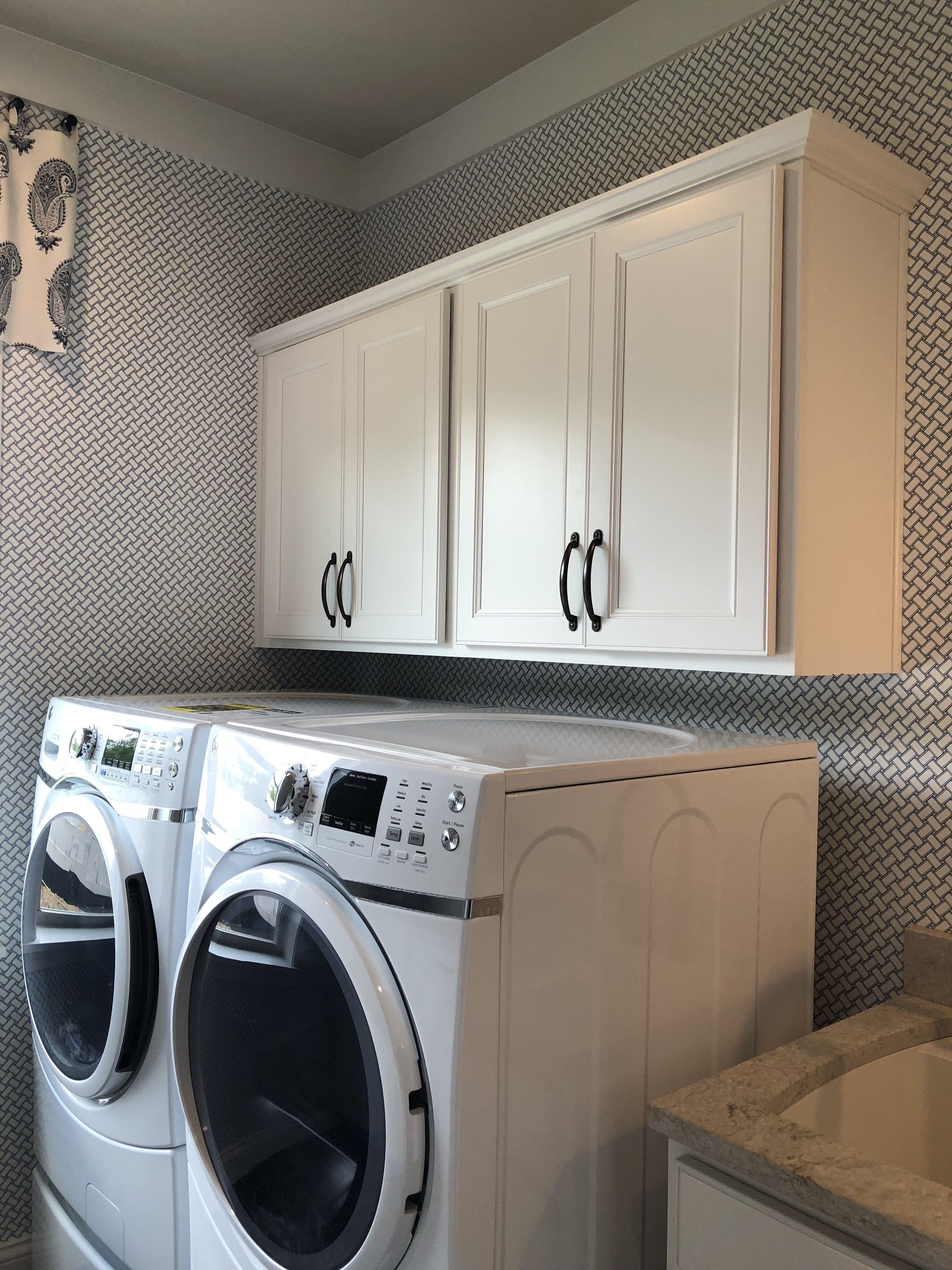 Landen Painted White Cabinets Above Washer Dryer Paint Cabinets