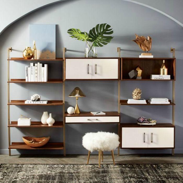 Walnut And Brass Wall Mounted Shelves