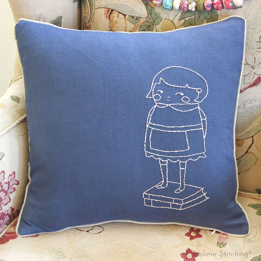 The black apple beginner embroidery pillow kit beginner embroidery