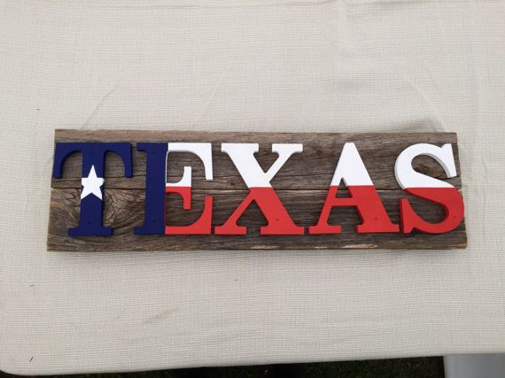 Texas flag sign on rustic wood by RustyPearlTX on Etsy