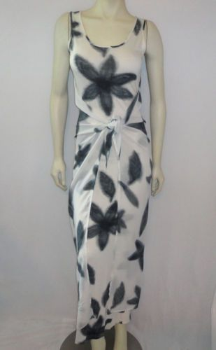 TINA HAGEN Sz P Black White Floral Print Stretch Tie Maxi Dress Scarf Cape