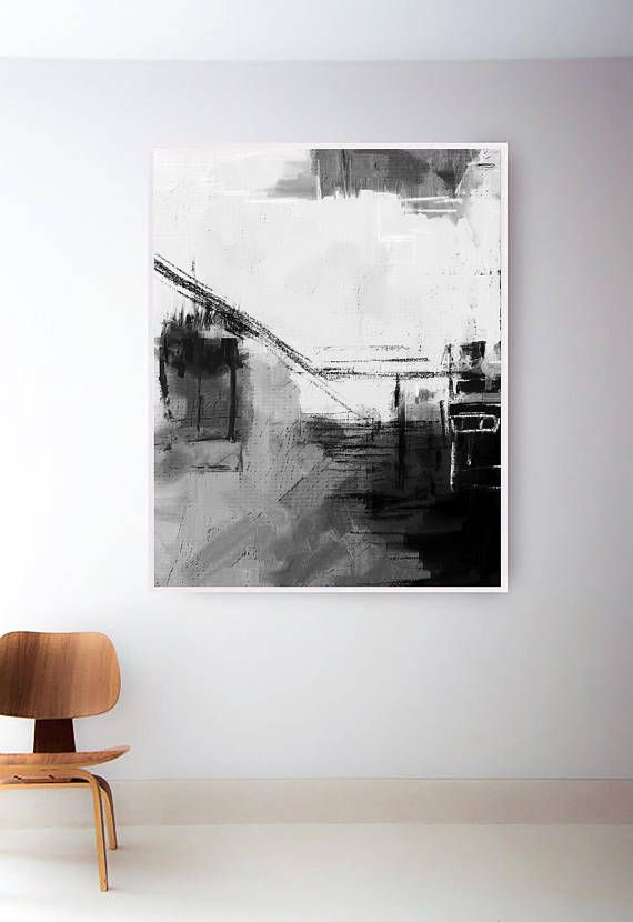 Set of 2 black and white prints printable art set abstract black and white