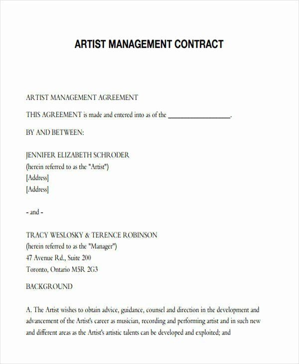 Artist Management Contract Template Elegant 37 Contract Templates