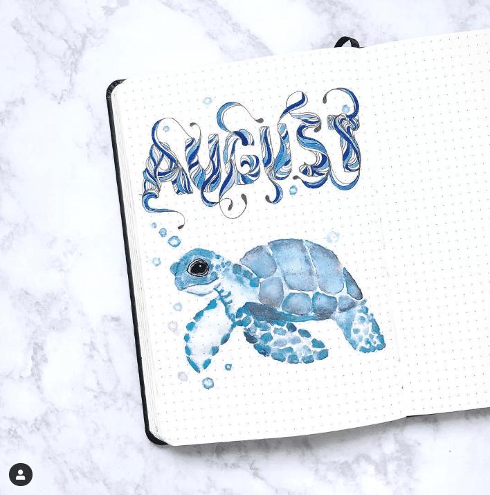 30 Under the Sea Themed Bullet Journal Layout Ideas #augustbulletjournal