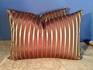 Scalamandre Shirred Stripe Lee Jofa Shayla Silk Back Pillow Set of 2   eBay