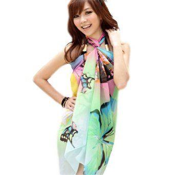 545d5456e2 Zehui Sexy Chiffon Wrap Dress Sarong Beach Bikini Swimwear Cover Up Scarf C