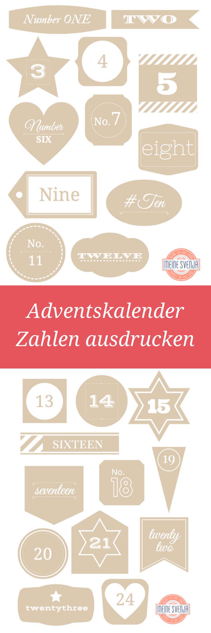 Adventskalender Zahlen ausdrucken - KOSTENLOS!!! Zahlen Vorlage zum Ausdrucken - ein Weihnachts-Freebie von meinesvenja.