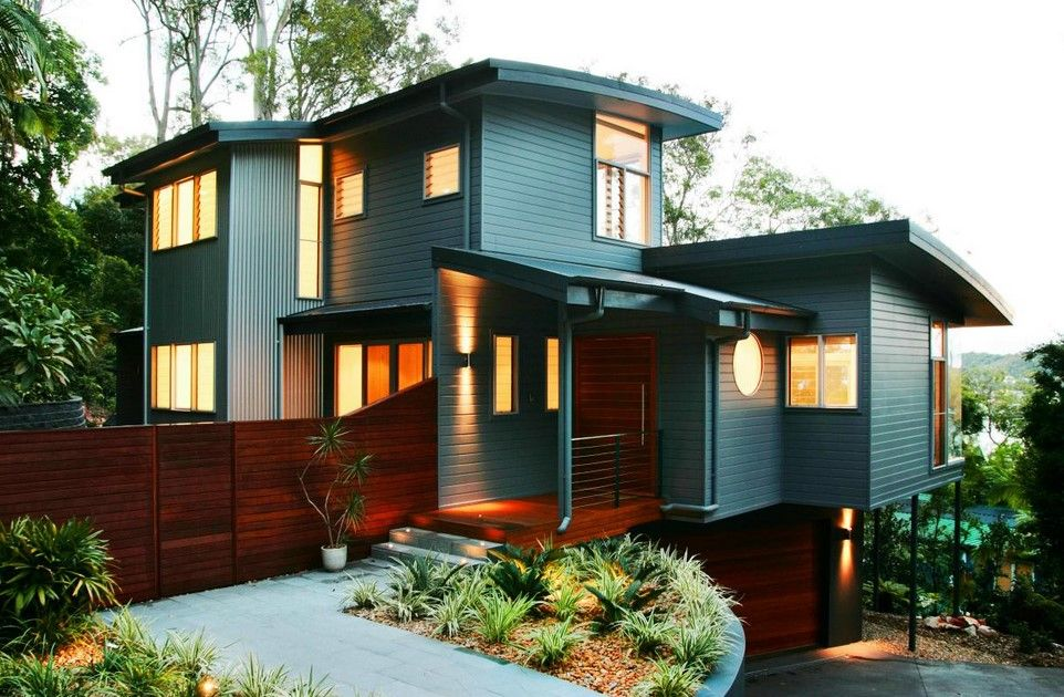 stunning exterior house paint colors ideas for a modern wooden walls house with wooden fences basement parking garage and wooden door - Mid Century Modern Home Exterior Paint Colors