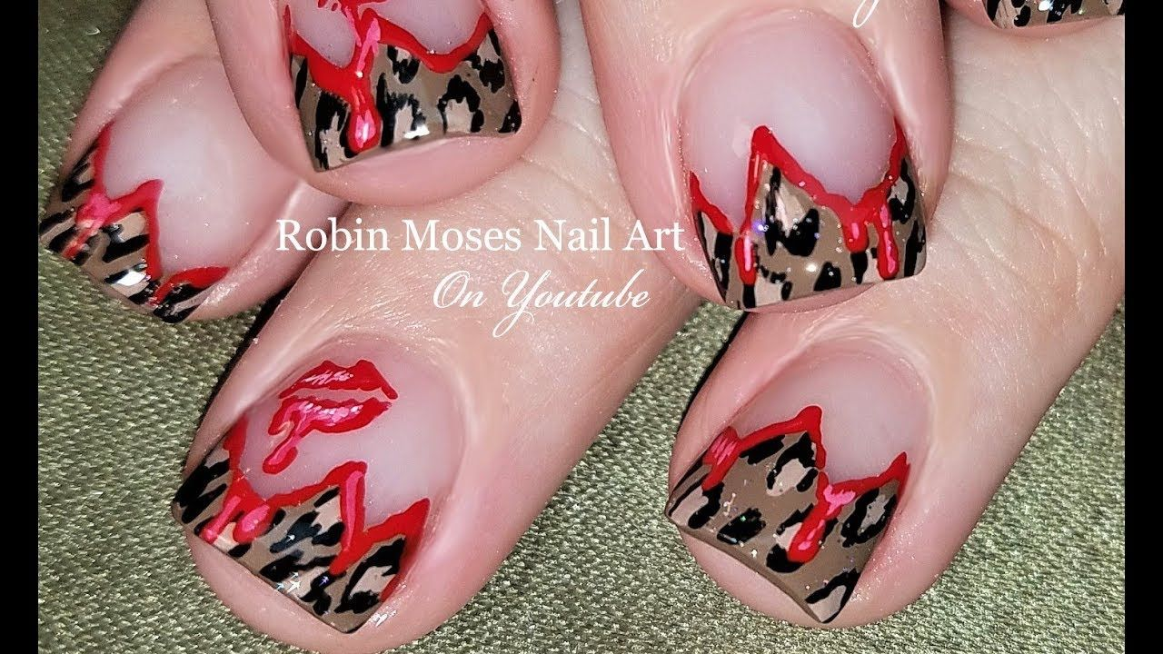 Wild Kisses Nail Art | Lips and Animal Print design for short nails ...