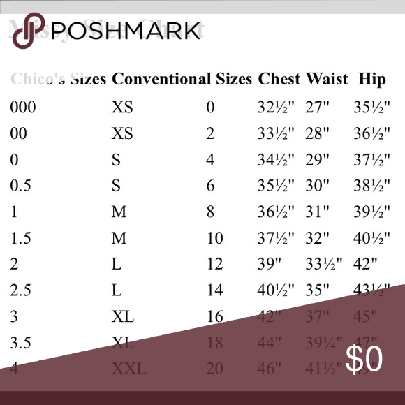 Chico s size chart great chart for comparing traditional missy