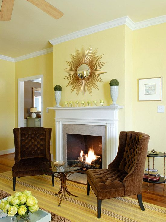 How to decorate your living room with cheery yellow for Pale yellow living room walls