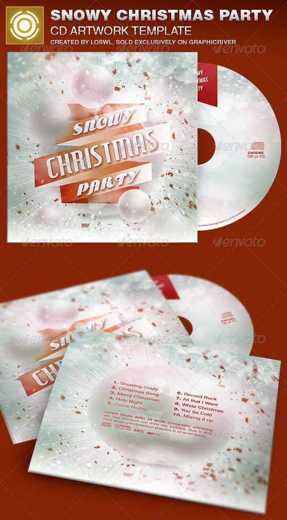 Snowy christmas party cd artwork template cd artwork template and snowy christmas party cd artwork template maxwellsz