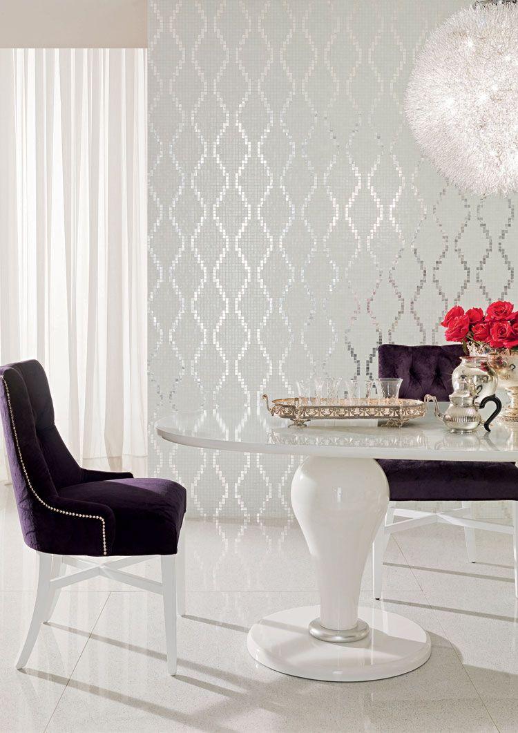 Metallic Home Decor Silver Wallpaper Royal Purple Velvet Upholstery White