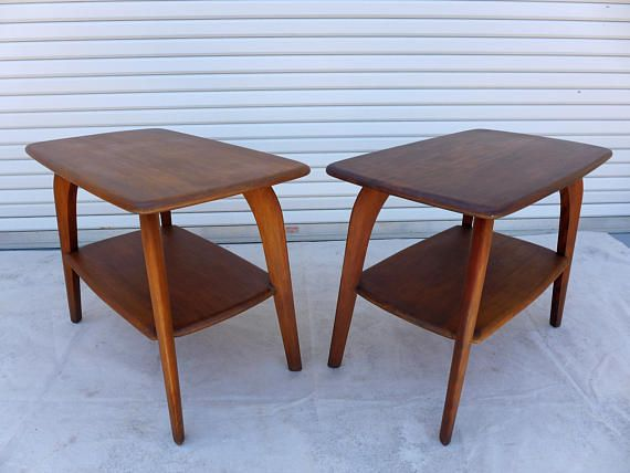 Pair Of Heywood Wakefield End Tables Two Tier Saber Leg Side Table M791 33 Walnut Finish Solid Wood Mid Century Modern Table Set Modern Table Setting Modern Solid Wood Furniture Coffee Table