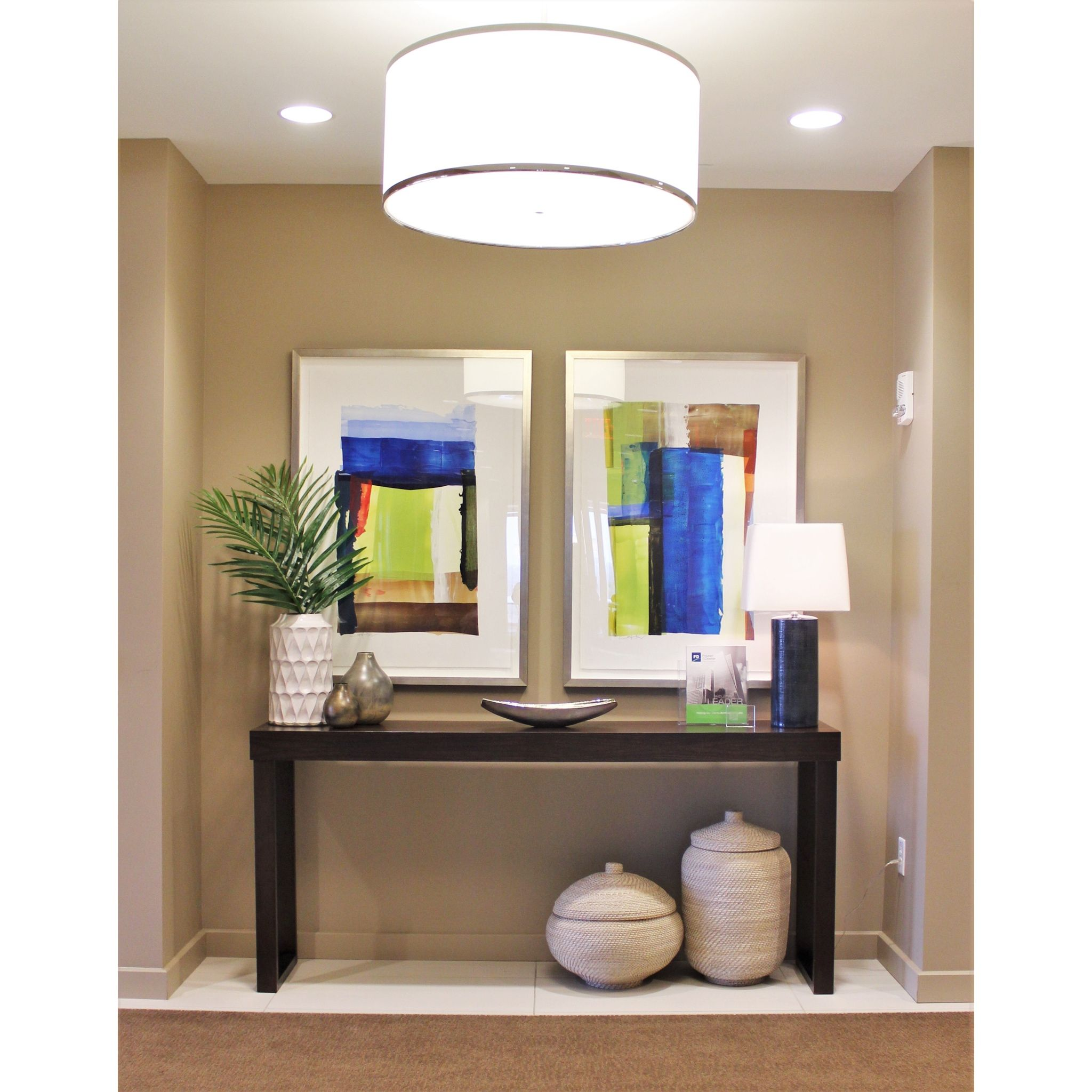 Office Console Table: Contemporary Upscale Elegant Office Lobby Decor Design