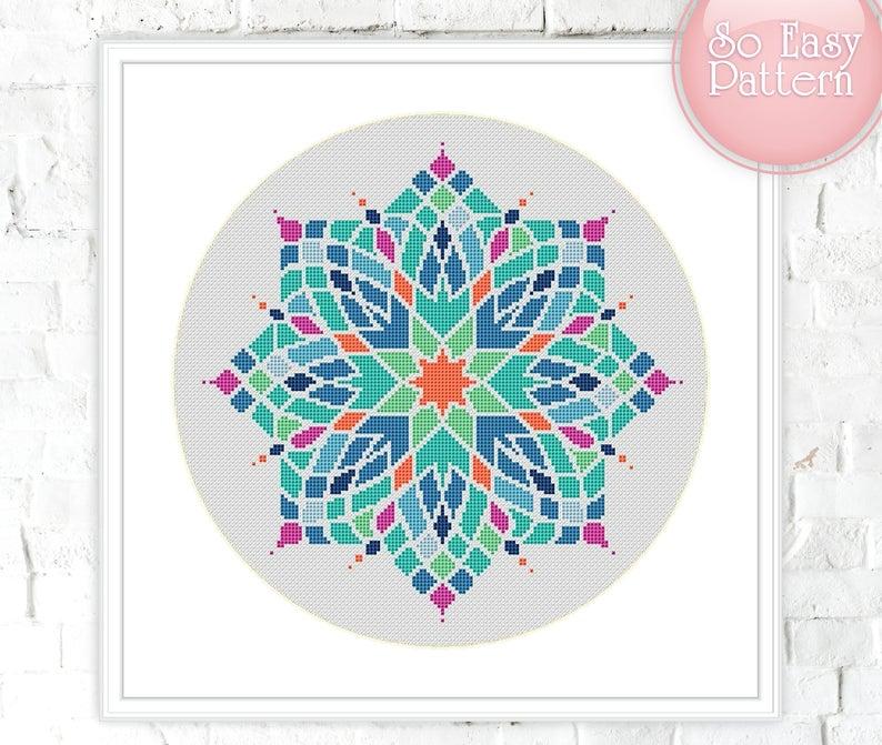 DIY Counted Cross Stitch Patterns Needlework embroidery Modern Mandalas 15