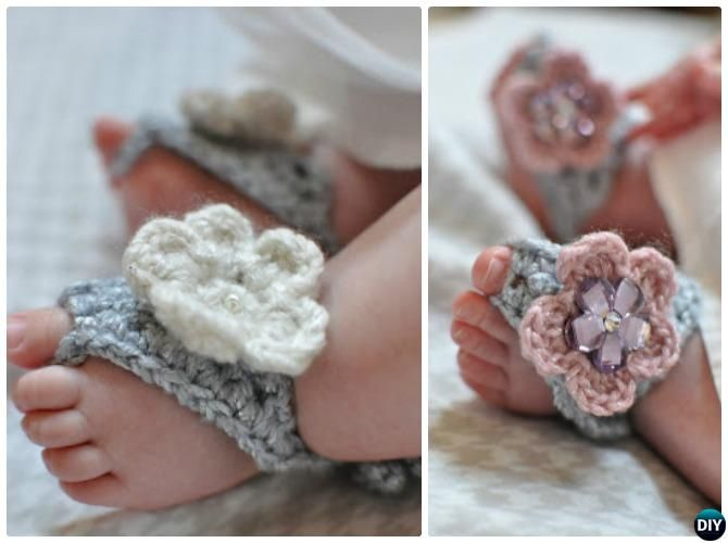 Crochet Barefoot Baby Sandals [Free Patterns] | Patrón libre, Bebé y ...