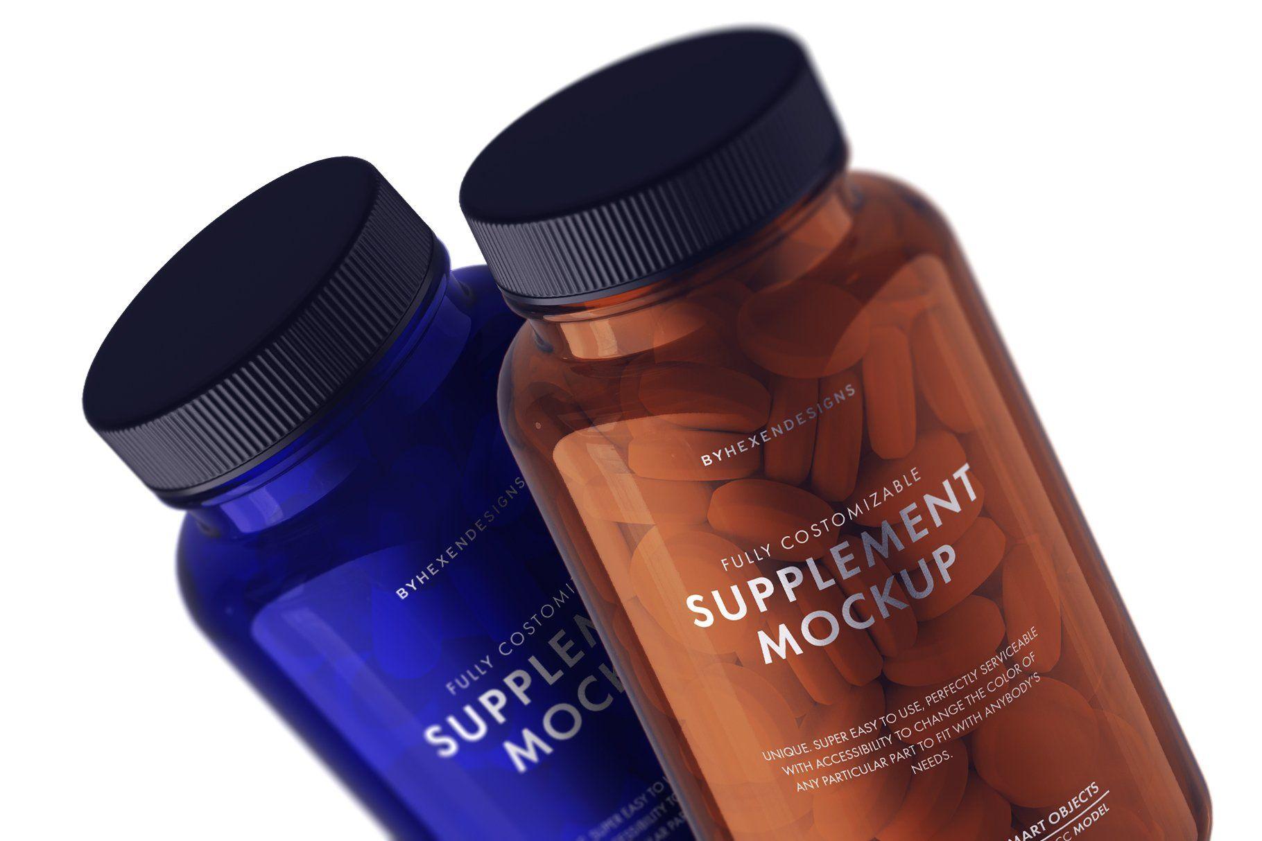 Download Supplement Bottle Mockup In 2020 Supplement Bottles Bottle Mockup Pill Bottles PSD Mockup Templates
