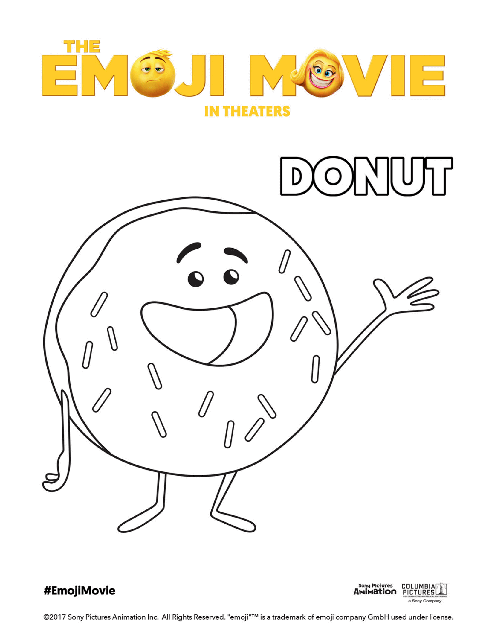 Free coloring pages emojis - The Emoji Movie Donut Coloring Page