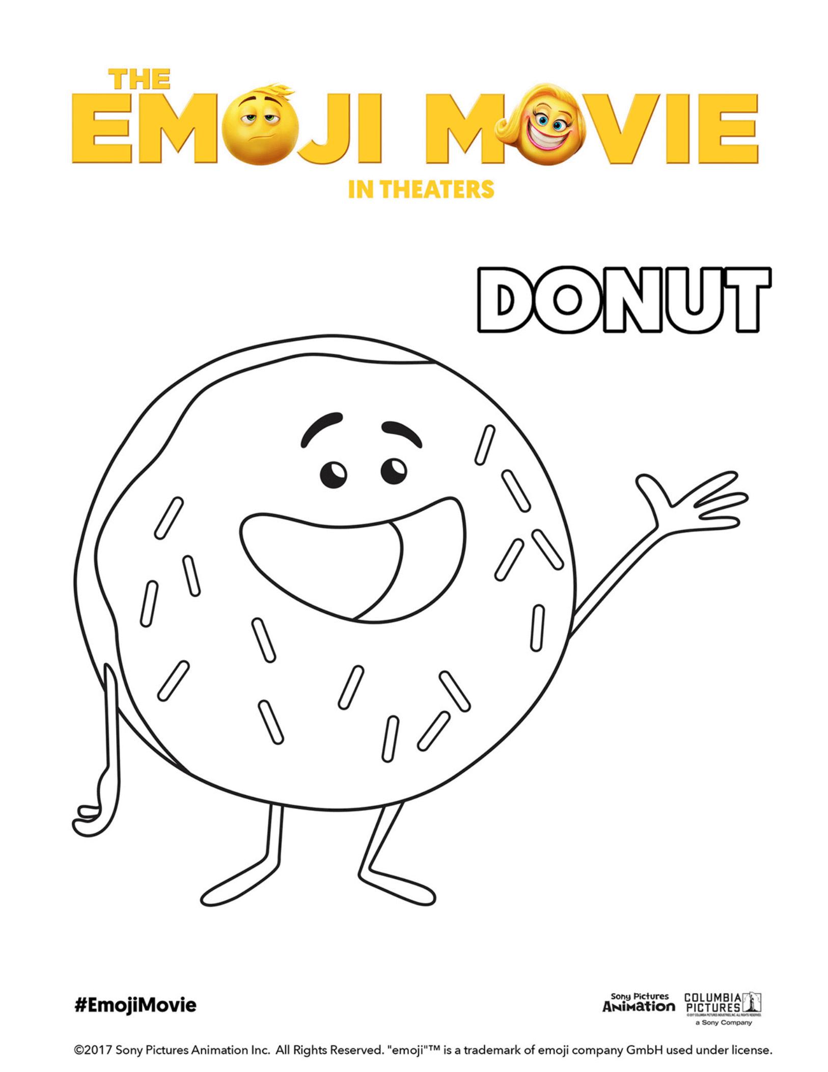 The Emoji Movie Donut Coloring Page Emoji Coloring Pages Emoji Movie Coloring Pages
