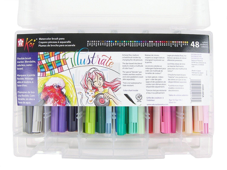 Amazon.com: Sakura XBR-48SA 48-Piece Koi Assorted Coloring Brush Pen Set: Arts, Crafts & Sewing