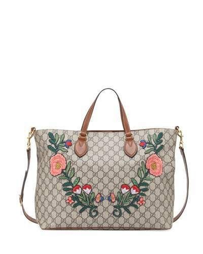 a1047df3ea21 Gucci GG Supreme Floral Embroidered Top-Handle Tote Bag on ShopStyle ...