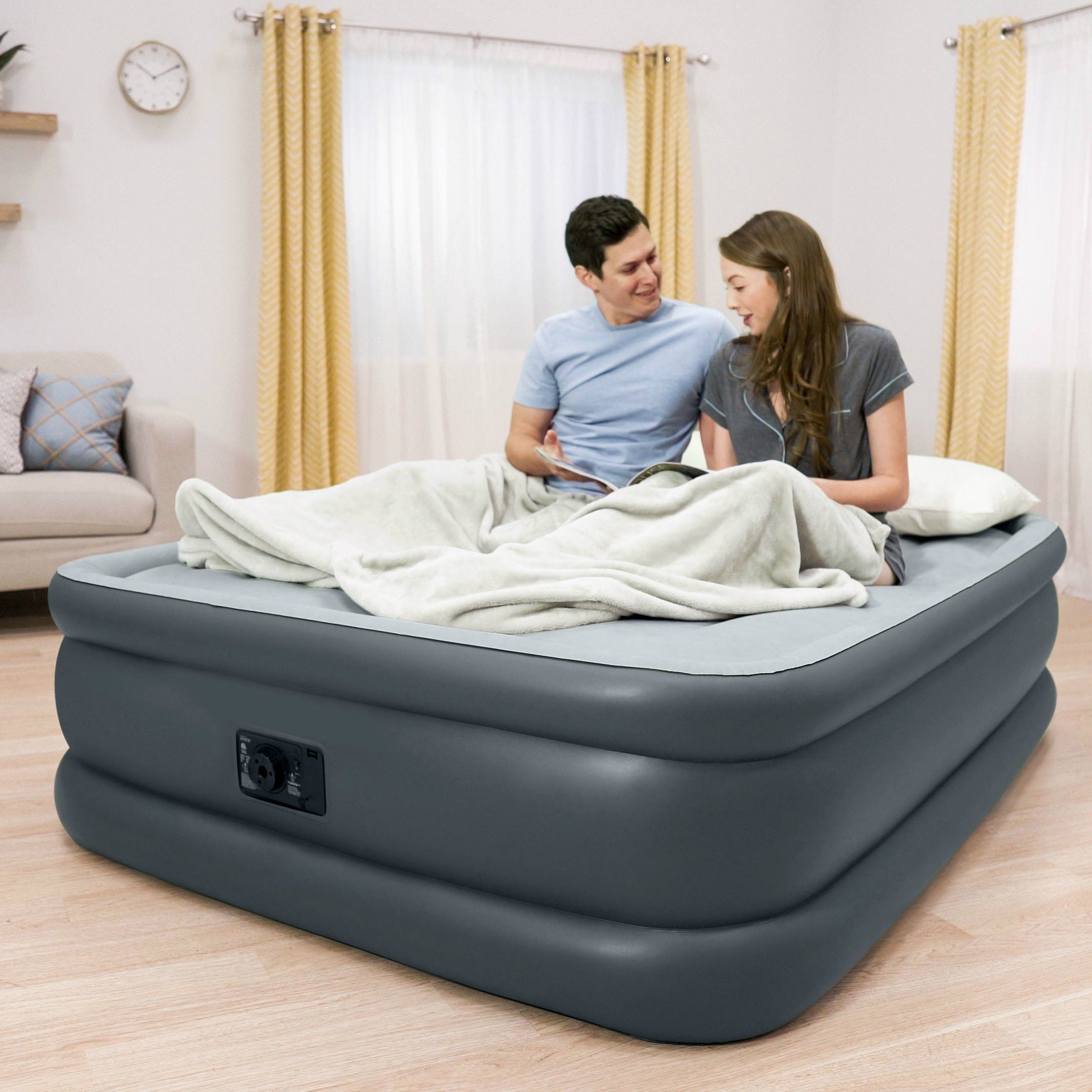 Intex Durabeam Standard Series Essential Rest Airbed With Builtin Electric Pump Bed Height 20 Queen Be Sure To Inflatable Air Mattress Air Bed Air Mattress