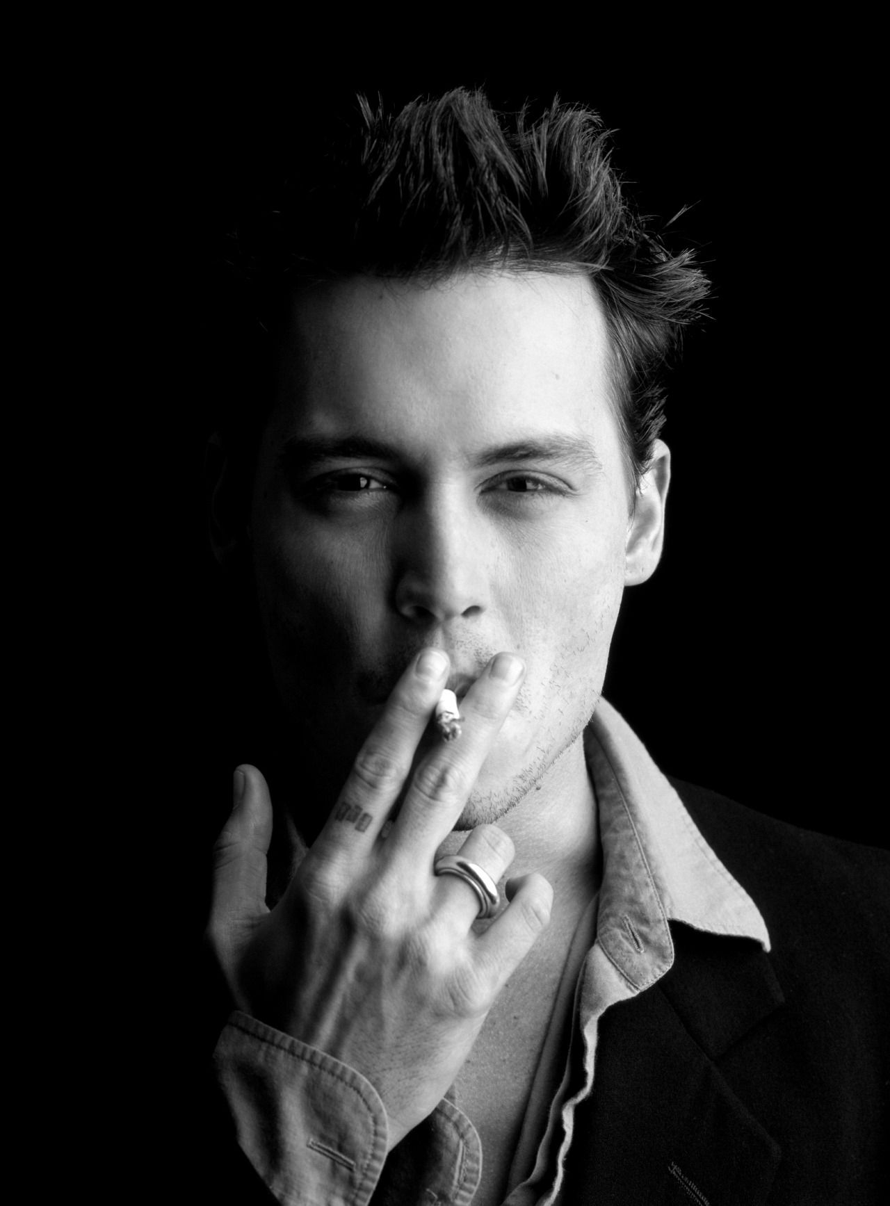 Black white young johnny depp celebrity photography celebrity portraits portrait photography