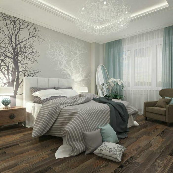 superior schlafzimmer gestaltung wandfarbe #8: schlafzimmergestaltung hellgrau wandfarbe holzoptik laminat