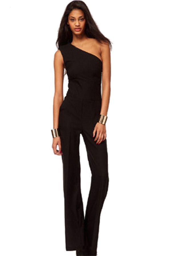 Black Elegant One Shoulder One Piece Evening Jumpsuit | Jumpsuits ...