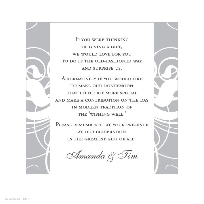 Wedding Invitation Gift Registry Wording