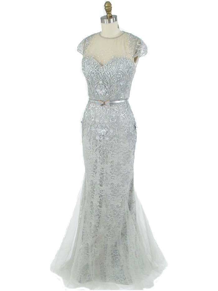 1930\'s Style Embroidered Silver Lace and Tulle Gown | Tulle gown ...