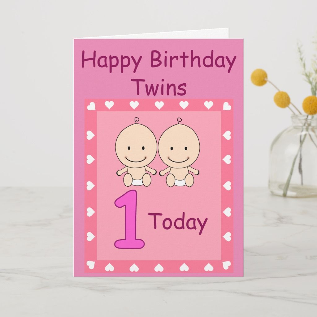 1st Birthday Twin Girls Custom Card in 2020