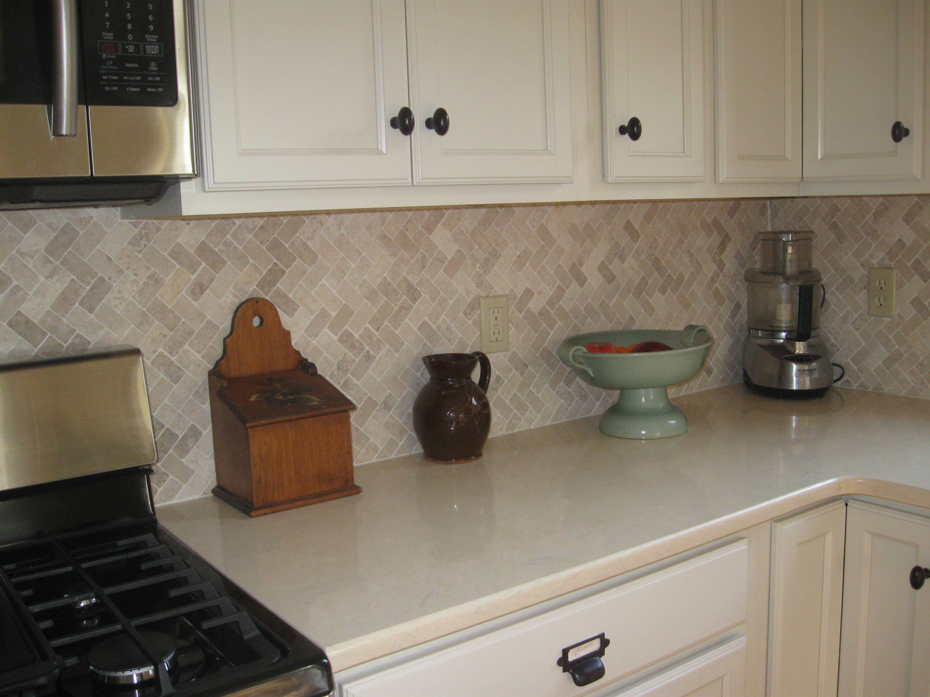 Cream Herringbone Stone Mosaic Tile Stone Mosaic Kitchen
