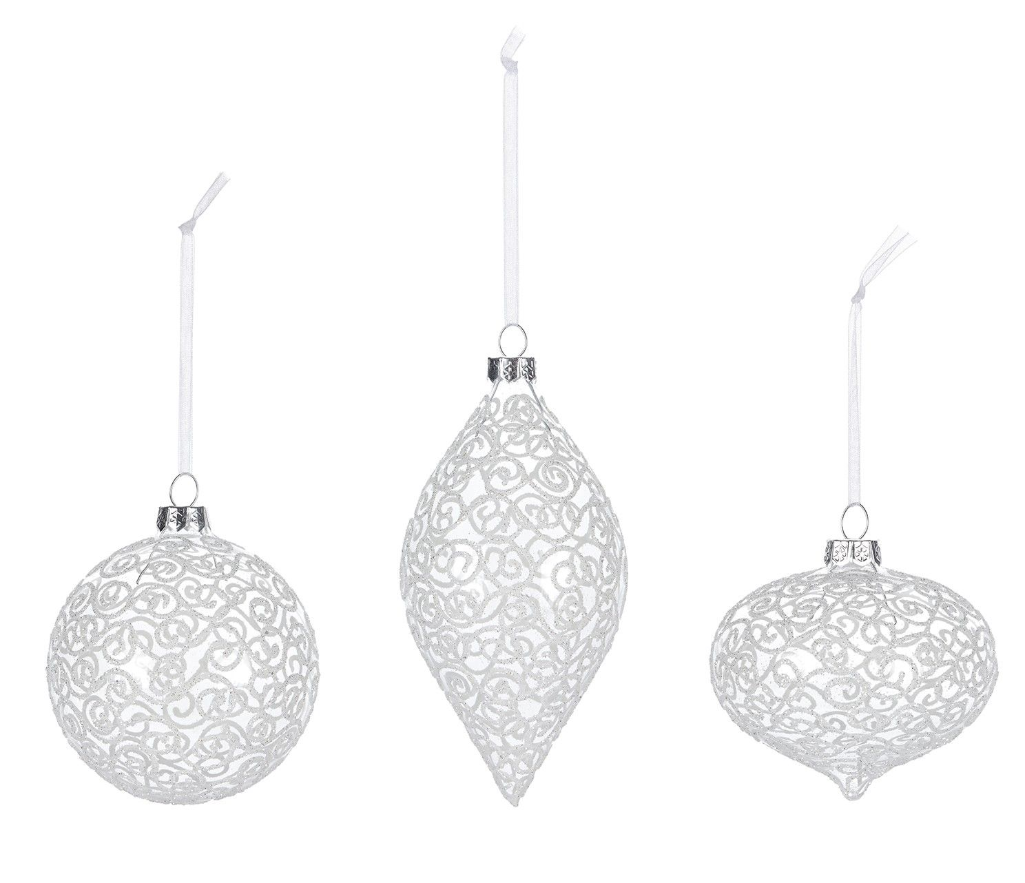 #merrybrissmas www.brissi.com A set of 3 luxury Christmas baubles in 3 classic shapes round, onion, shallot. These beautiful clear glass decorations feature a white sparkle glitter swirl pattern, and are as glamorous as they are great value. Price £10.00