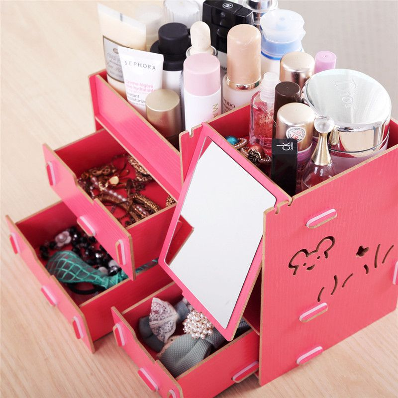 Decorative Stationery Boxes Decorative Cosmetic Wooden Stationery Box Jewelry Container Makeup