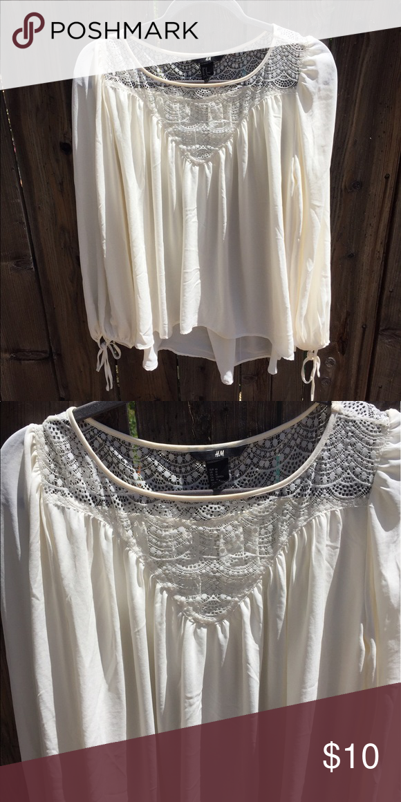 Chiffon Lace Blouse How adorable! Dress this up with black slacks or for everyday with distressed jeans! H&M Tops Blouses