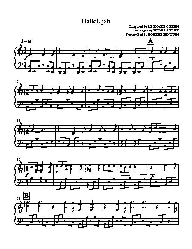 Hallelujah Leonard Cohen Piano Sheet Preview Christmas Piano