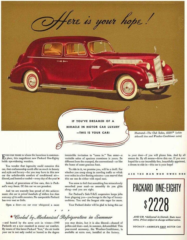 1940's Packard ad. Packard cars, Packard, Car ads